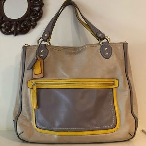 Coach Leather Poppy Tote Bag.